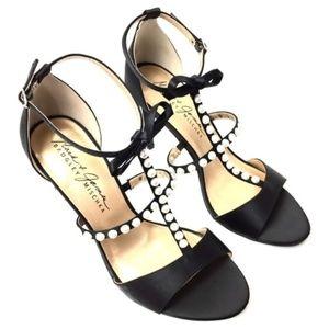 Badgly Mischka Faux-pearl Satin Heels Sandals